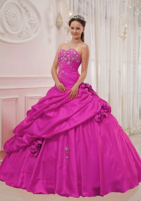 Fuchsia Sweetheart Appliques and Hand Made Flowers Sweet 16 Dresses