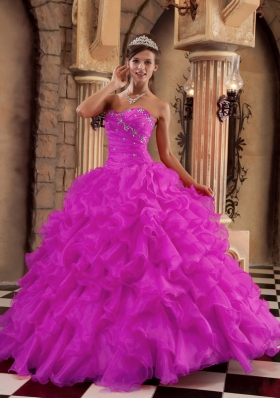 Fuchsia Sweetheart Organza Ruffles and Beading Dresses For a Quince