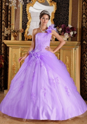 Gorgeous Puffy One Shoulder Appliques Quinceanera Dresses for 2014