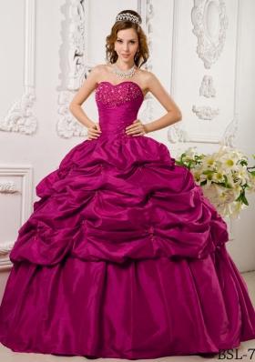 Hot Pink Ball Gown Sweetheart Floor-length Tafftea Appliques Quinceanera Dress