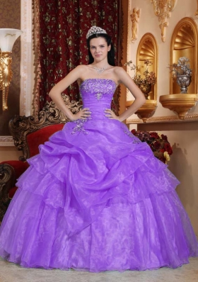Lavender Puffy Strapless 2014  Beading Quinceanera Dresses with Appliques