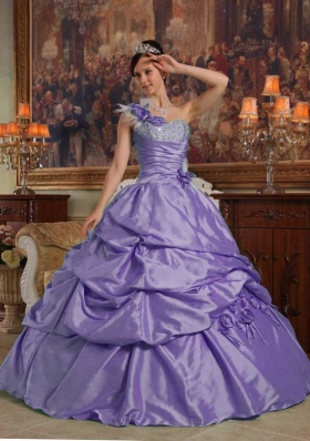 Luxurious Purple Puffy One Shoulder 2014 Quinceanera Dress
