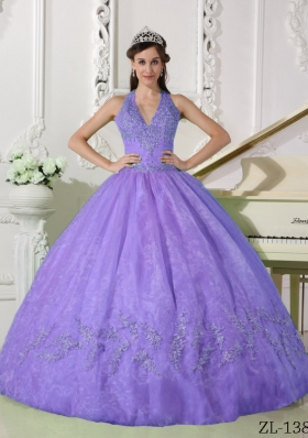 Modest Lavender Puffy Halter Appliques Quinceanera Dresses for 2014