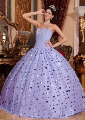 New Style Lavender Puffy Sweetheart Sequins Quinceanera Dress for 2014