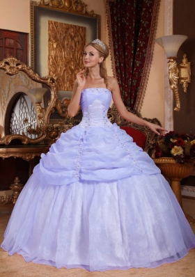 New Style Puffy Strapless 2014 Spring Appliques Quinceanera Dresses