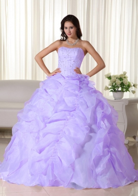 Perfect Lavender Puffy Strapless Ruffles and Beading Quinceanera Dresses for 2014
