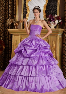 Perfect Lavender Strapless 2014 Beading Quinceanera Dresses with Pick-ups