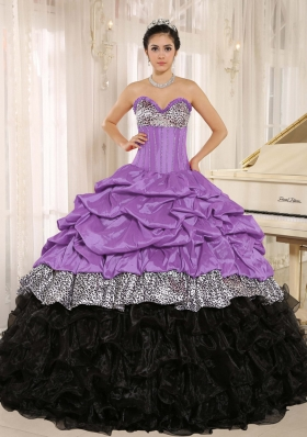 Pretty Sweetheart Ruffles 2014 Quinceanera Dresses With Pick-ups