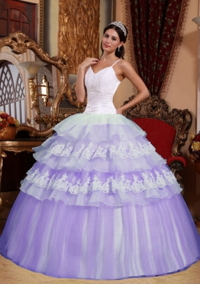 Puffy Spaghetti Straps Lace Appliques Quinceanera Dress for 2014