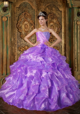 Puffy Strapless Beading and Ruffles 2014 Quinceanera Dresses