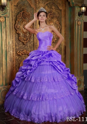 Puffy Sweetheart 2014 Lace Appliques Quinceanera Dress with Pick-ups