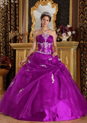 Strapless Fuchsia Organza and Satin Quince Dresses with White Appliques