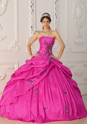 Strapless Taffeta Quinceanera Dress with Appliques and Pick-ups