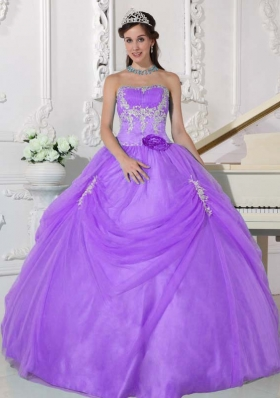 Sweet Lavender Puffy Strapless Appliques Quinceanera Dresses for 2014