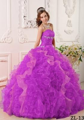 Sweetheart Fuchsia Organza Beading and Ruffles Quinceanera Dress