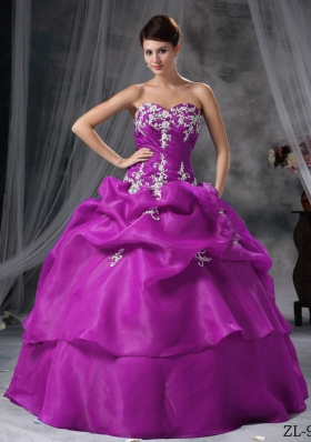 Sweetheart Organza Appliques Decorate Quinceanera Dress in Fuchsia
