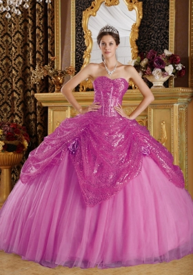 Sweetheart Sequined and Tulle Sweet 16 Dresses with Hand Made Flowers