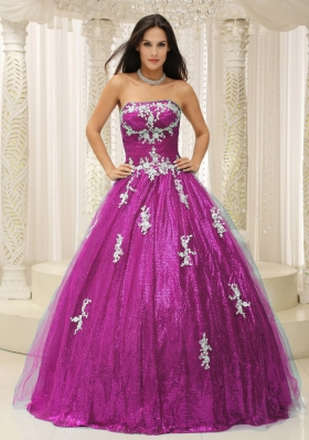 Wonderful A-line Pron Dress With Appliques Paillette Over Skirt Tulle