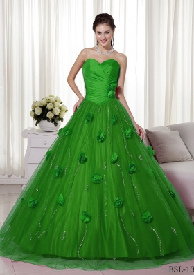 A-line Sweetheart 2014 Spring Green Quinceanera Dresses with Brush Train