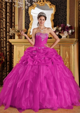 Appliques with Beading Sweetheart Organza Quinceanera Gown in Fuchsia
