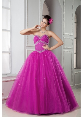 Discount Fuchsia Sweetheart Tulle Beaded Decorate Sweet 15 Dresses