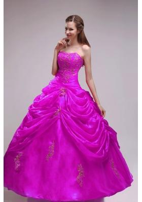 Elegant Fuchsia Strapless Orangza Applqiues and Pick-ups Quinceanera Dress