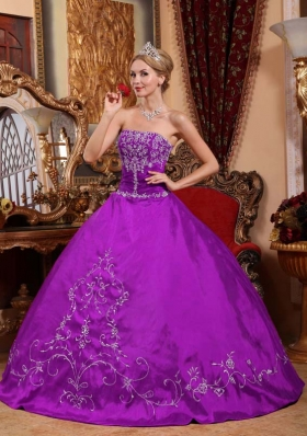 Exclusive Strapless Satin Embroidery Quinceanera Dress for Sweet 16