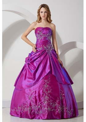 Fuchsia Strapless Taffeta Embroidery with Beading Quinceanera Dress