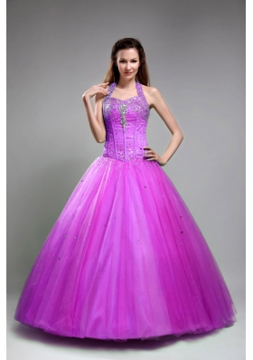 Halter Top Neck Tulle Beaded Decorate Bodice Dress For Quinceanera