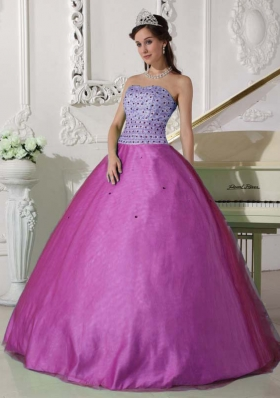 Lovely Fuchsia Sweetheart Tulle Beaded Decorate Quinceanera Gown