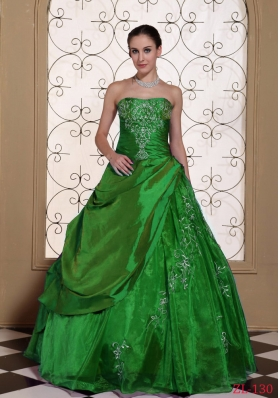 Modest Princess Strapless Embroidery Quinceanera Dresses For 2014