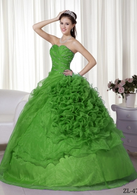 Perfect Puffy Sweetheart with Beading and Ruffles Quinceanera Dress for 2014