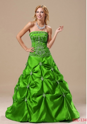 Princess 2014 Quinceanera Dresses with Embroidery Pick-ups