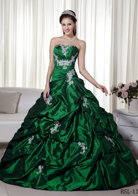 Princess A-line Strapless 2014 Quinceanera Dresses with Appliques