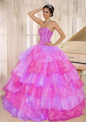 Ruffled Layers and Appliques Decorate Up Bodice For Multi Color Quinceanera Dress