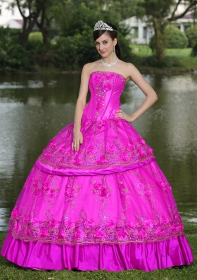 Strapless Embroidery Full Length Quinceanera Dress for 2014 Spring