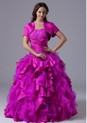 Strapless Fuchsia Beaded Decorate Bust Quinceanera Dress with Ruffles