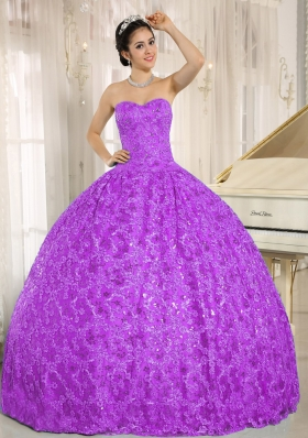 Sweetheart Ball Gown Full Length Quinceanera Dress with Lace All Over Skirt