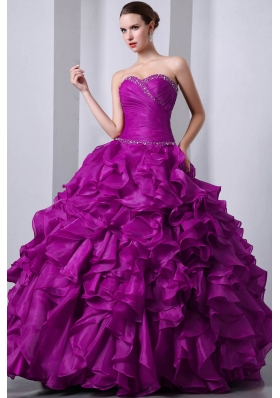 Sweetheart Organza Fuchsia Quinceanea Dress with Beading and Rufffles