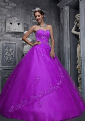 Sweetheart Taffeta and Tulle Quinceanera Dress with Beading and Appliques