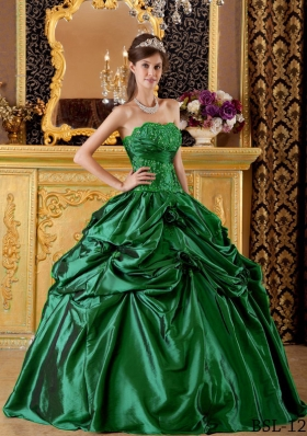 2014 Ball Gown Strapless Quinceanera Dresses with Appliques