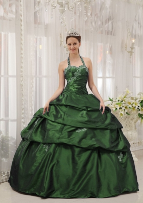 2014 Spring Dark Green Ball Gown Halter Quinceanera Dresses with Appliques