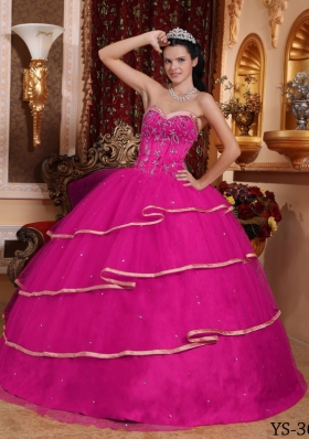 Beaded Decorate Bodice Sweetheart Tulle Dresses For a Quince