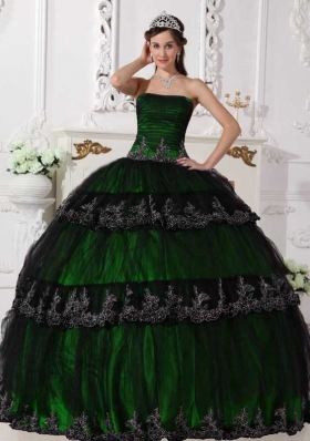 Cheap Appliques Strapless Puffy Quinceanera Dresses for 2014 Spring