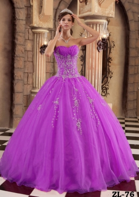 Cheap Sweetheart Organza Quinceanera Dress with Beading and Appliques