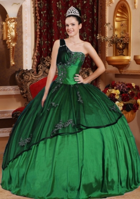 Dark Green Ball Gown One Shoulder Quinceanera Dresses with Beading  Appliques