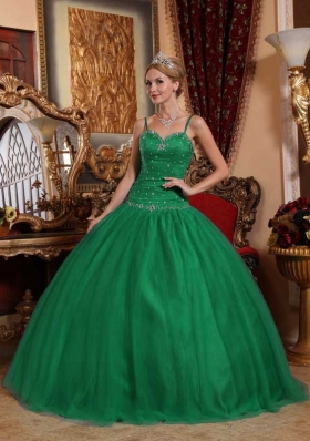 Dark Green Ball Gown Spaghetti Straps Quinceanera Dresses with Beading