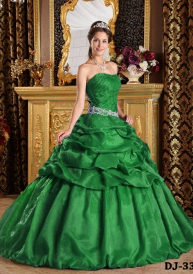 Dark Green Ball Gown Strapless Quinceanera Dresses with  Pick-ups