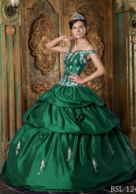 Dark Green Off The Shoulder Quinceanera Dresses with Appliques
