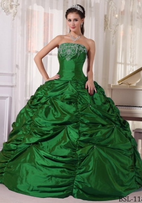 Dark Green Puffy Strapless 2014 Quinceanera Gowns with Embroidery